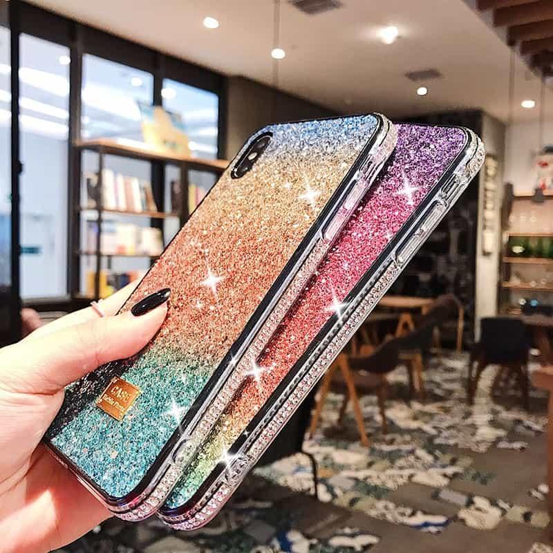 coque iphone en cristal pailleté