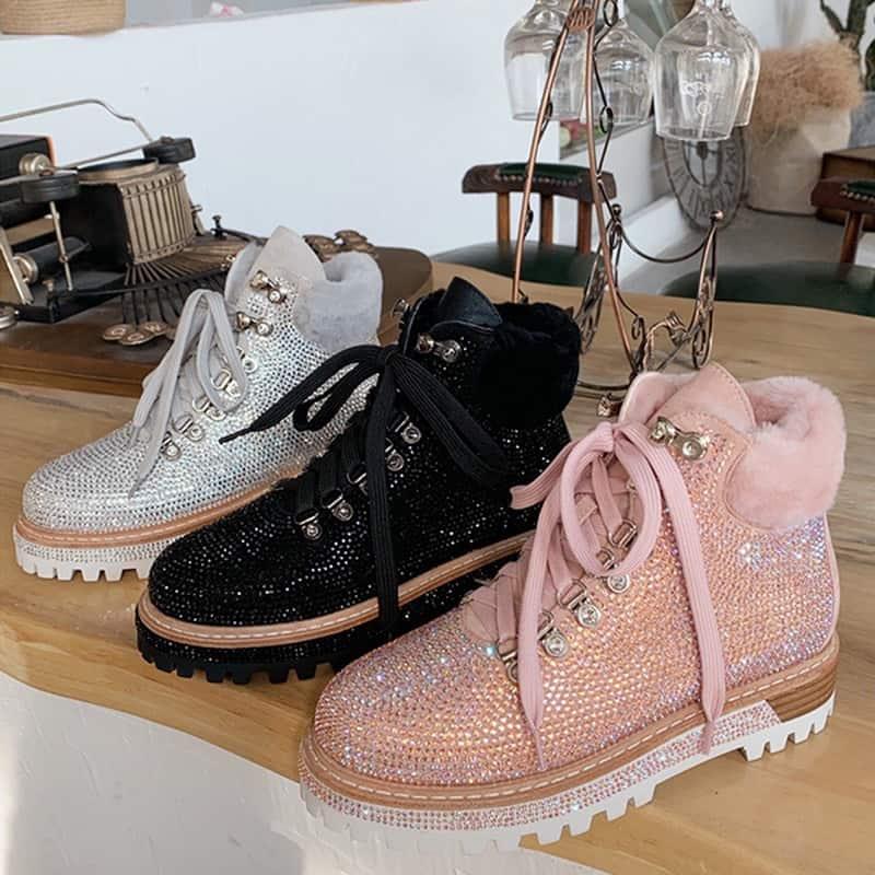 bottes en cuir avec strass