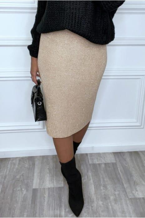 jupe tube beige à fil brillant bas femme bas strass & paillettes