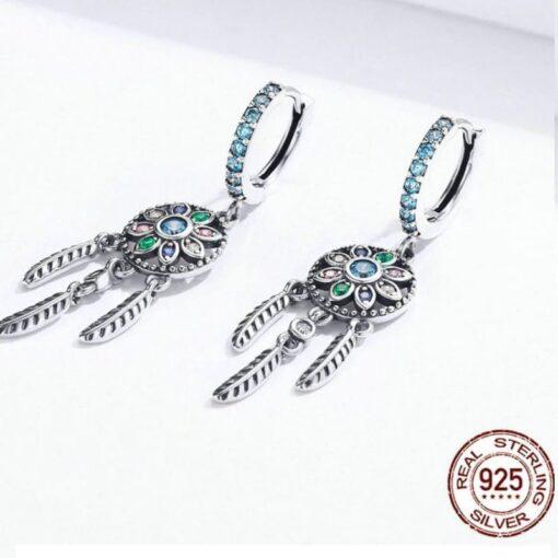 boucles d'oreilles attrape rêve argent 925 bijoux bijoux strass femme boucles d'oreilles strass et paillettes