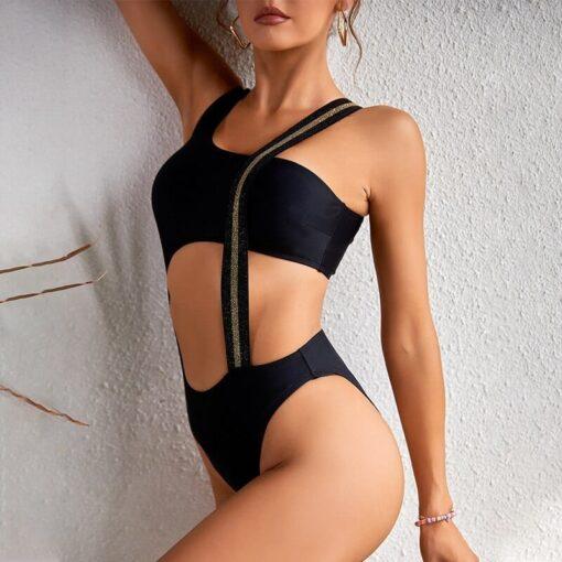 maillot de bain noir avec une bande dorée maillot de bain vêtements