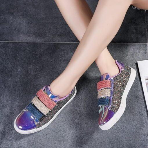 basket femme à scratch avec paillettes chaussures chaussures strass et paillettes femme