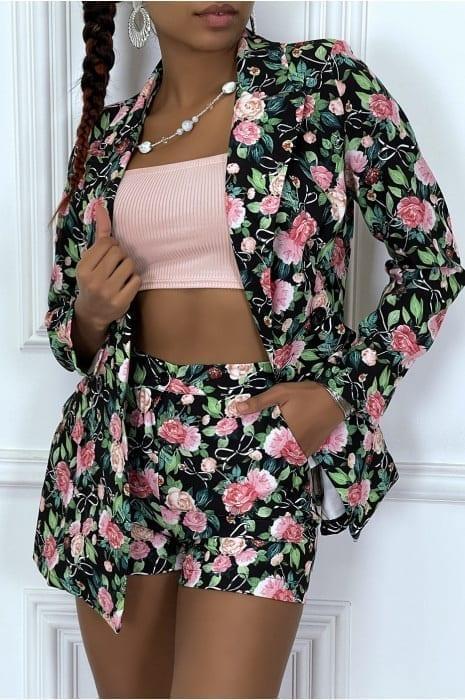 ensemble blazer et short à motif fleuri ensemble tenue femme hauts strass & paillettes femme vêtements