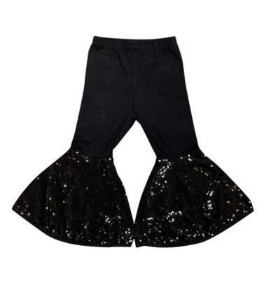 pantalon noir à paillettes bell bottom – iltex apparel http://strassetpaillette.fr