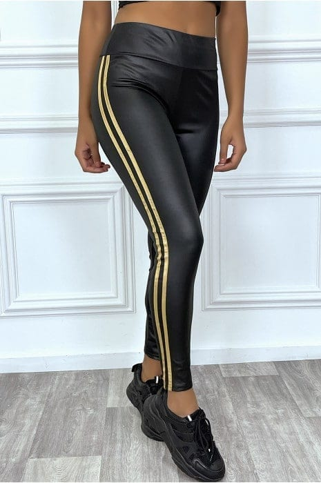 legging noir en simili avec bande dorée bas femme