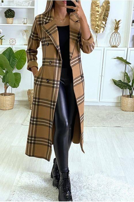 manteau long à carreaux camel avec poches et ceinture hauts strass & paillettes hauts strass & paillettes femme vestes et manteaux vêtements