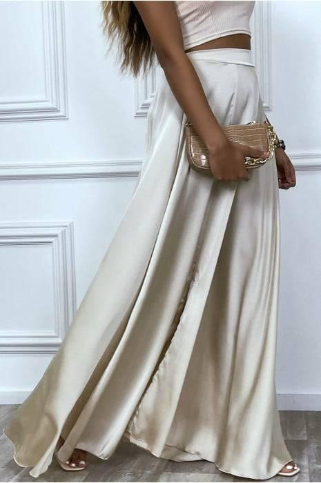 longue jupe beige satinée avec fente et élastique à la taille bas femme bas strass & paillettes vêtements
