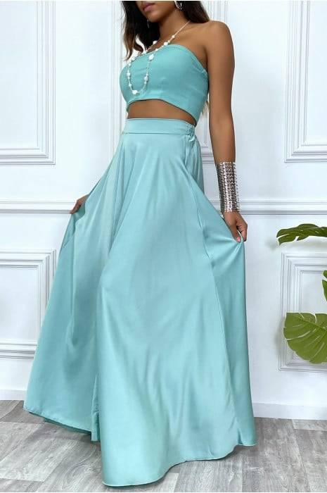 jupe longue verte satinée avec fente et élastique à la taille bas femme bas strass & paillettes vêtements