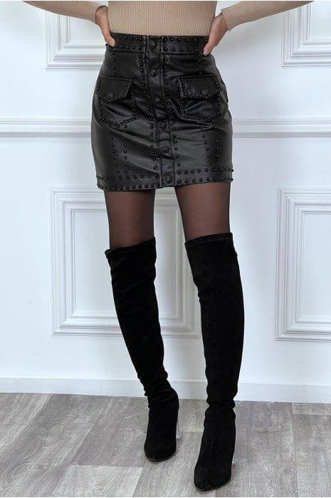 mini jupe noire en simili cloutée bas femme bas strass & paillettes vêtements