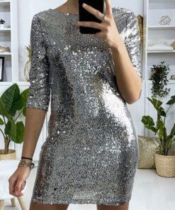 robe pailletée doublée avec dos nu robes robes de soirée strass & paillettes vêtements