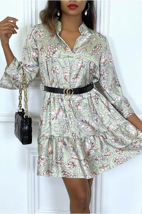 robe verte satinée motif fleuri à volant robes robes de cocktail strass & paillettes vêtements