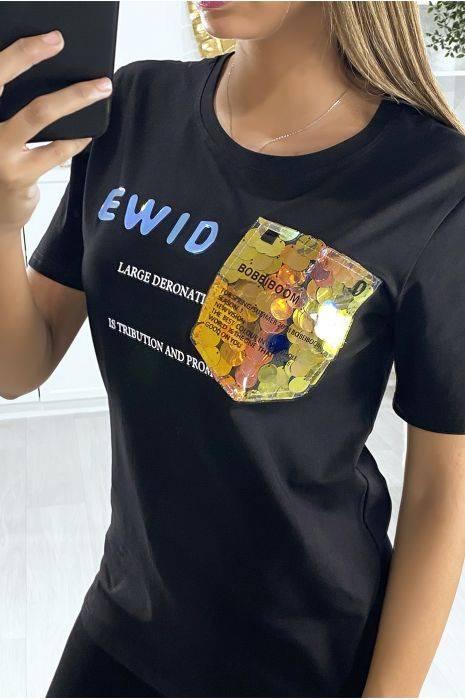 t-shirt noir avec écriture et motif en paillettes hauts strass & paillettes hauts strass & paillettes femme vêtements