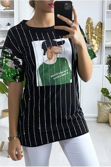 t-shirt noir avec paillette strass et dessin à l'avant hauts strass & paillettes hauts strass & paillettes femme vêtements