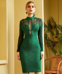 robe de soirée moulante brillante avec manches transparentes robes robes de soirée strass & paillettes vêtements