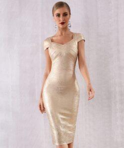 robe moulante dorée robes robes de cocktail strass & paillettes vêtements