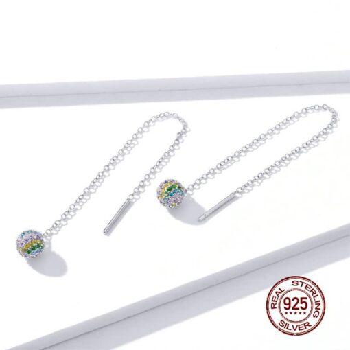 boucles d'oreilles longues arc-en-ciel argent 925 bijoux bijoux strass femme boucles d'oreilles strass et paillettes
