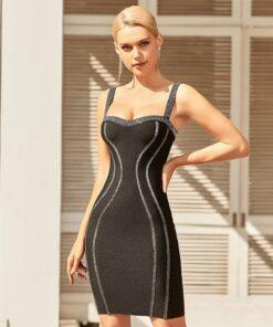 robe de soirée noire avec bretelles à paillettes robes robes de soirée strass & paillettes vêtements
