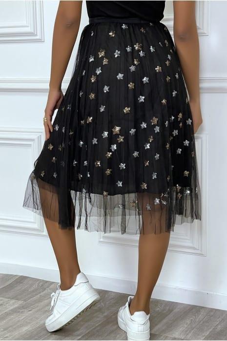 jupe noire doublée en tulle avec étoiles en sequins bas strass & paillettes jupes vêtements