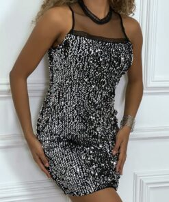 robe de soirée noir en sequins et col voilage robes robes de soirée strass & paillettes vêtements