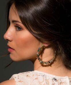 boucles d'oreilles créoles susana pierres aquamarines