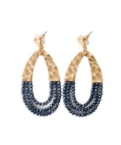 boucles d'oreilles ovale zircon bleu marine