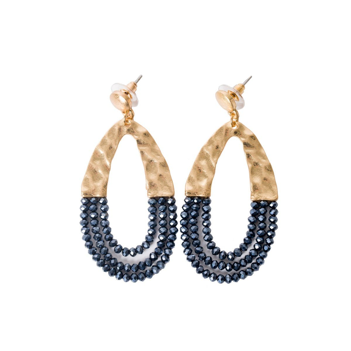 boucles d'oreille ovale zircon bleu marine