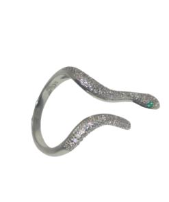 bague serpent réglable en argent 925 incrustée de zircon