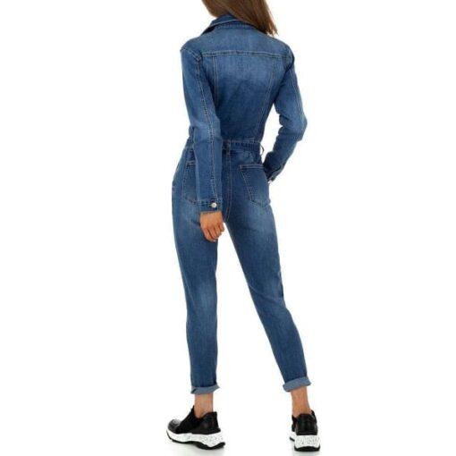 combinaison-femme-jeans-boutons-bleu