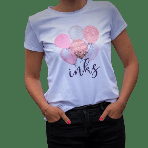 t-shirt en coton avec des paillettes tissu imprimé rose dragée