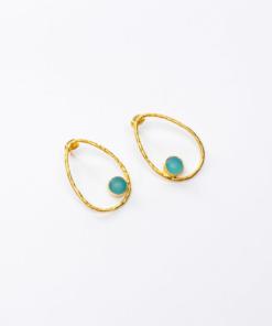 boucles d'oreilles ovales iris turquoise