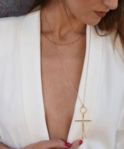 collier croix multicolore argenté