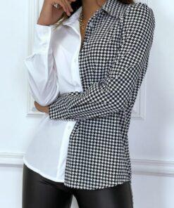 chemise-bi-color-blanc-et-motif-pied-de-poule