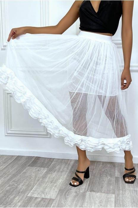 jupe-blanche-en-tulle-double-avec-froufrou-plissee