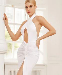 robe de soirée longue dos nu blanc