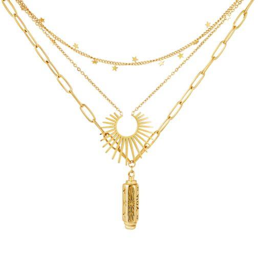 collier pendentif soleil etoiles or