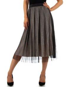 Jupe-Femme-longue-plissee-bronze