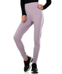 Leggings-Femme-sport-rayures-contrastees-lila
