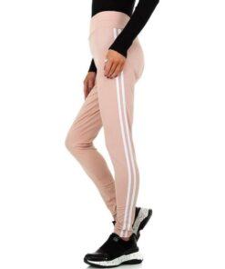 Leggings-Femme-sport-rayures-contrastees-rose