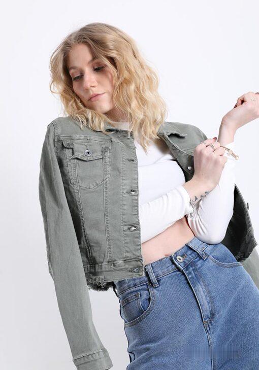 veste kaki en coton avec des boutons avec poches