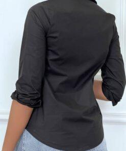 chemise-noire-a-manches-longues-avec-imprime
