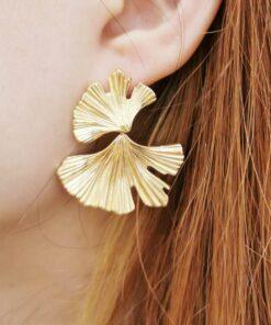 boucles d'oreilles ginkgo dorées