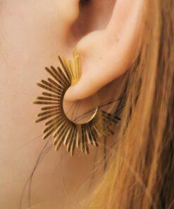 boucles d'oreilles acier the sun-strass et paillettes