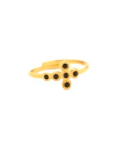 bague gédéon dorée et cristaux noirs