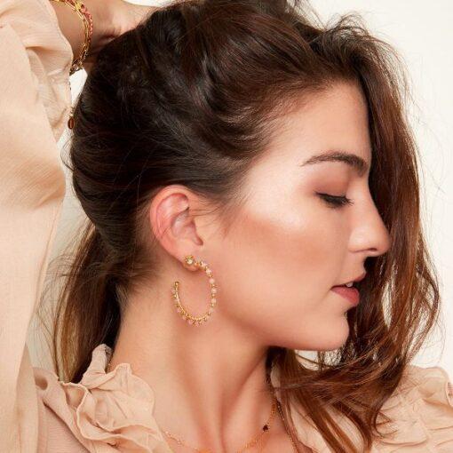 boucles d'oreilles créoles perlées bora-bora