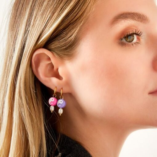 boucles d'oreilles en acier inoxydable yin yang papeete