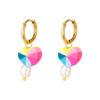 boucles d'oreilles cœur en acier inoxydable avec perles ibiza