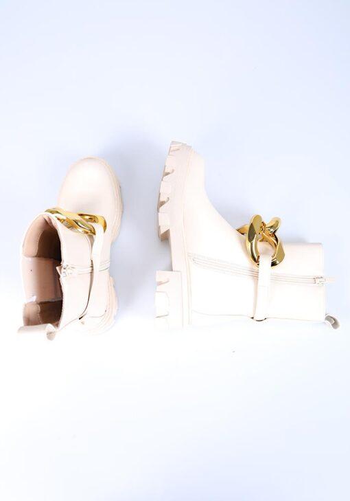 bottines avec bijou en or et fermeture éclair