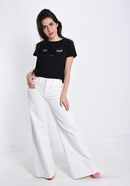 t-shirt en coton avec des paillettes