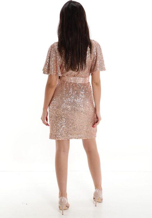 robe avec ceinture encolure en v avec des paillettes