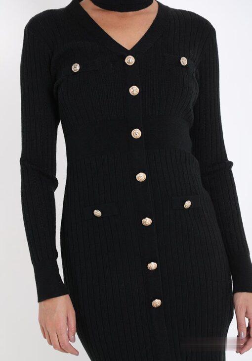 robe en mélange de laine avec des boutons encolure en v